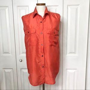 VTG 💯% silk tangerine button up sleeveless blouse